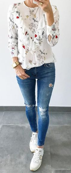 #summer #outfits White Floral Ruffle Top + Ripped Skinny Jeans + White Sneakers