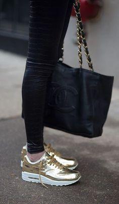Nike golden shoes makin me drool