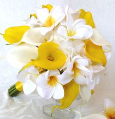 Plumeria tropical wedding bridal bouquet and matching boutonniere plumeria real touch calla lilies white hydrangea
