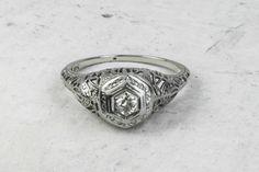 The Deco Filigree Engagement Ring - 18ct Gold & Diamond Art Deco Ring