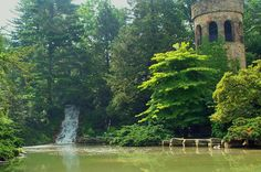 Chime tower and waterfall | Longwood Gardens