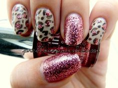 Neutral leopard print with rose glitter