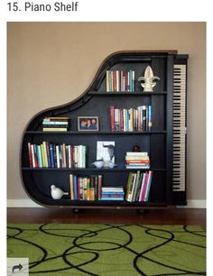 22 Creative Bookshelves Guaranteed to Give You Shelf Envy This creative bookshelf, shaped like a piano, would be a great addition to any home library. Home Decor Furniture, Unique Furniture, Diy Home Decor, Furniture Design, Room Decor, Music Furniture, Furniture Ideas, Reuse Furniture, Book Furniture