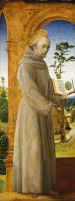 Foppa, Vincenzo,      Lombard, c. 1430 - 1515/1516  Saint Bernardino of Siena      c. 1495/1500      oil (?) on panel      overall: 148.9 x 57 cm (58 5/8 x 22 7/16 in.)      framed: 64.3 x 44 x 20 cm (25 5/16 x 17 5/16 x 7 7/8 in.)      Samuel H. Kress Collection      1961.9.72