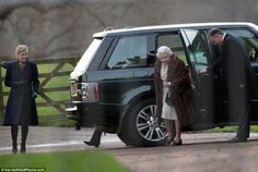 The Queen stepped out of her car with Sophie, the Countess of Wessex, who opted for a classic navy blue coat for the service