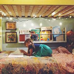 lights under the bunk bed...wall paint...that bookshelf...so much yes.