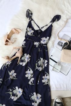Long blue floral dress casual summer formal