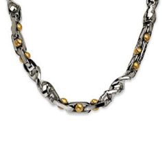 Men's Two-Tone Stainless Steel 24K Gold Chain Link Necklace Jewelry Available Exclusively at Gemologica.com