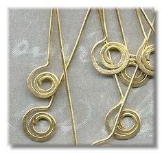 2 Inch Brass Hammered Swirl Bottom Headpins 22 by purplemoongifts, $4.95
