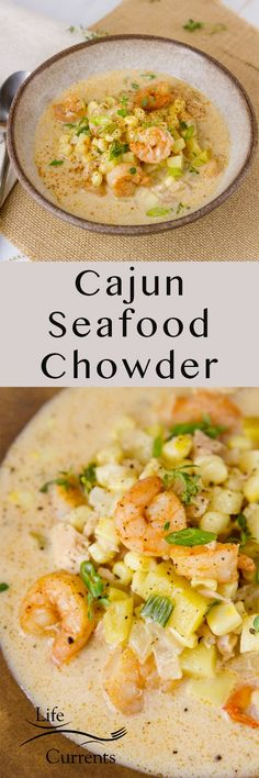 This Cajun Seafood Chowder is rich and creamy, with just the right amount of Cajun spiced seafood including shrimp and tuna, along with sweet corn and earthy potatoes. It's perfect comfort food that will make you happy