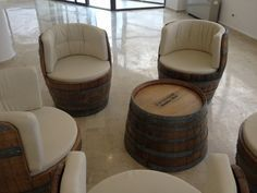 Love this idea of turning an old barrel into a nice and comfy seat! Want the same in my living room ; Diy Furniture Chair, Diy Pallet Furniture, Recycled Furniture, Handmade Furniture, Rustic Furniture, Furniture Ideas, Furniture Design, Wine Barrel Chairs, Wine Barrel Furniture