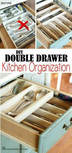 DIY - Double Layer Drawer Organization Make the most of your drawers - Step by step instructions., organization drawer DIY - Double Layer Drawer Organization Make the most of your drawers - Step by step instruc. Kitchen Decorating, Diy Kitchen Storage, Diy Storage, Storage Ideas, Decorating Ideas, Extra Storage, Storage Hacks, Diy Organizer, Kitchen Organization