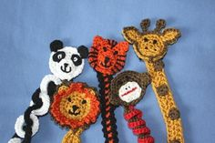 This pattern set includes 5 adorable patterns for soother clips ~ giraffe, lion, monkey, tiger and panda.A sweet baby gift that you know will get lots of use!These patterns use Patons Grace yarn, and a size 3.25 mm hook. I do not recommend using other yarns unless they are quite fine. This yarn is a mercerized cotton and gives a finished look with a bit of a sheen.It takes a few colours of yarn to make these clips, but not a lot of yarn.You are welcome to sell any items made from my…