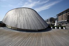Kebony SYP roof on Onda restaurant in Aker Brygge, Oslo, Norway Oslo, Cladding, Norway, Sustainability, Public, Exterior, Restaurant, Architecture, Wood
