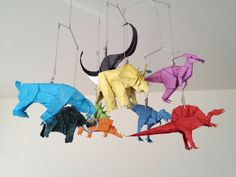 WOW! Look at this origami dinosaur mobile! By Friesenfolding on Etsy @$400.00
