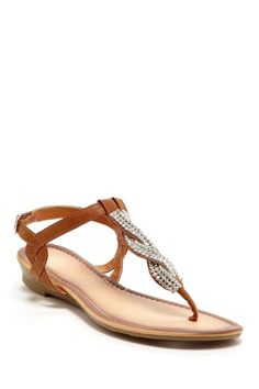 Bucco Thong Toe Rhinestone Flat Sandal by For The Love Of Shoes on @HauteLook