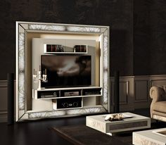 Luxury Tv wall unit produced by Vismara Design with backlit saver marble decorative inserts http://www.vismara.it