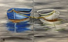 """SAT, 3/26/16  6-8pm.  COUPLES NIGHT """"Two Boats"""" You'll work together to create this double canvas measuring 20x32!  $30 per person.  At Berkshire Paint and Sip, 305 North St, Pittsfield, MA   All painting materials and light snack included. BYOB.  Reserve your seats at www.berkhsirepaintandsip.com or call (413) 205-8346"""