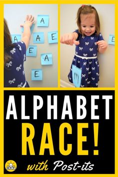 Learning letters isn't boring when you turn it into a race! See how we used Post-its to help teach our toddler basic letter recognition while laughing the whole time! - Kids education and learning acts Letter Learning Games, Letter Games, Letter Activities, Toddler Learning Activities, Alphabet Activities, Preschool Activities, Kids Learning, Learning Spanish, Abc Games For Toddlers