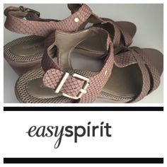 "🌷Tan Easy Spirit Spring shoes🌷 🌷Tan Easy Spirit Spring to Summer shoes.  They are very comfy.  They are open sandles with an adjustable buckle on the side.  It has a 3"" heel and  front 1/2"" inch. They look like snake skin, but it's just the design.  Eskoryn Leather upper.  Man made lining.  It says size 8, but fits more like a 7-7 1/2. Never worn as I recently broke a foot.  I figured why have them sit in the closet; I won't be wearing them anytime soon🌷🌷🌷🌷🌷 ❌P͏͏P͏͏…"