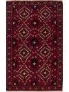 "Persian Balochi Wool Red Rectangle Area Rug  (4'1"" x 6'9"") - 251-12425"