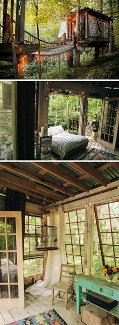 The windows that tilt from the bottom, the green table and the birdcage really make this garden room. The windows that tilt from the bottom, the green table and the birdcage really make this garden room. Future House, Magic Treehouse, Treehouse Kids, Treehouse Vacations, Treehouse Living, Cabins In The Woods, House Goals, Play Houses, My Dream Home