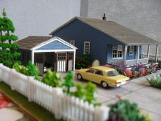 Reserved for Margie: Miniature Bungalow with Garage Property HO Scale. $100.00, via Etsy.