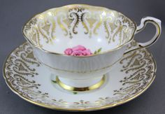 Paragon Tea Cup Saucer White Gold Pink Rose