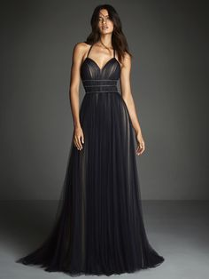 Formal Dress in Navy Blue draped tulle over nude lining. Open Back with spaghetti halter neckline and three-level beaded belt detail. Request an appointment! Black Evening Dresses, Elegant Dresses, Evening Gowns, Glamour, Prom Dresses, Formal Dresses, Wedding Dresses, Dress Prom, Strapless Dress