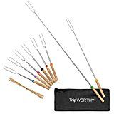 """#8: TripWorthy Marshmallow Roasting Sticks and Bonus 10 Bamboo Skewers (Kid Friendly) Telescoping More Skewers/Hot Dog Forks (32"""") Great for Outdoor Campfire Patio Fire Pit Set of 8 http://ift.tt/2cmJ2tB https://youtu.be/3A2NV6jAuzc"""