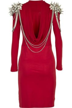 The Blonds Silk Jersey Dress With Spiked Shoulders