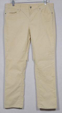 ANN TAYLOR LOFT Beige Stretch Corduroy Pants 31 12 Modern Straight Five Pockets #AnnTaylorLOFT #Corduroys