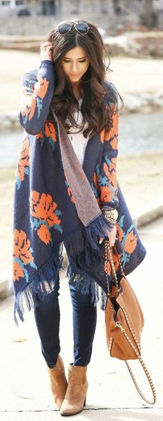 FLORAL / FRINGE - Winter Outfit Ideas 2015 - Woven Heart Rose Knit Fringe Open Shawl Sweater, Sleeve V-Neck Tee, 'The Legging' Ankle Jeans, Brown Booties / The Sweetest Thing