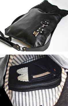 Black Leather Messenger Bag with Antique Skeleton Key Large Steampunk, Red Leather, Leather Bag, Leather Totes, Biker, Black Leather Messenger Bag, Gothic, Leather Working, Skeleton