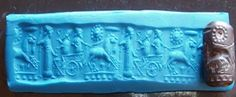 Elamite Cylinder Seal and impression: About 1200 B.C. An intense and intricately carved cylinder seal. This Hematite Cylinder seal in most probability is a referral to the Invasion of Babylon by the Elamites and the demise of the Kassite Dynasty in 1200 B.C. The seal might represent the last kassite ruler being taken away in a 2 horse drawn cart. In the sky the constellation Pleidades, a star, a sign of Victory. www.historicconnections.com