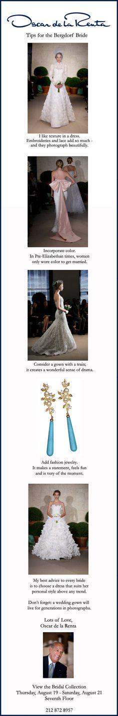 Oscar de la Renta's tips for the BG Bride.