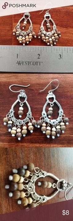 Boho Chic Earrings With Wood Beads Boho Chic Earrings With Wood Beads. They are in perfect condition. Jewelry Earrings