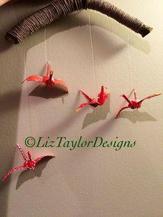 Paper Crane wall art, origami mobile, hanging wall art, office art, paper crane sculpture, nursery decor, baby decor, good luck cranes