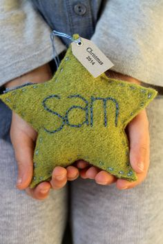 Personalized Christmas Ornament - Green Wool Felt Star with Hand Embroidered name