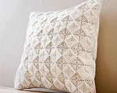 """Free Shipping- PERSEPHONE Decorative Pillow Cover in off White/Creme/Ecru Handmade Embroidered Embossing Pattern -16""""x16""""(40x40cm)"""
