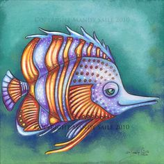 """Funky Fish 8 - an 8 x 10"""" ART PRINT of a tangerine orange and violet coloured fish who is happily swimming along in a turquoise coloured sea"""