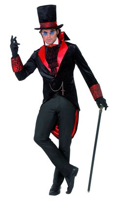 Dracula Costume includes a black jacket with red collar and tails, a matching black hat and black cravat. A great Vampire costume for Halloween! Add some vampire fangs and fake blood to complete your look! Dracula Halloween Costume, Halloween Fancy Dress, Adult Halloween, Halloween 2018, Gothic Halloween, Halloween Vampire, Halloween Horror, Halloween Ideas, Costumes