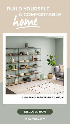 Glass Shelving Unit, Metal Shelves, Regal Design, Industrial Shelving, Plant Shelves, Shoe Rack, Living Room, Interior Ideas, Diy Ideas