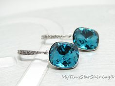 Teal Earrings Indicolite Blue Earrings Crystal Swarovski Cushion Cut Earrings Gold Earrings Sparkling Earrings Wedding Bridesmaids Gift by MyTinyStarShining on Etsy https://www.etsy.com/listing/115171152/teal-earrings-indicolite-blue-earrings