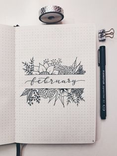 Bullet Journal Month Cover - Florals and Calligraphy