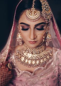 A Gorgeous Chandigarh Wedding With A Bride In Pastel Pink!You can find indian bridal fashion and more on our website.A Gorgeous Chandigarh Wedding With A Bride In Pastel Pink! Indian Bridal Outfits, Indian Bridal Makeup, Bridal Makeup Looks, Indian Bridal Fashion, Indian Wedding Jewelry, Bridal Looks, Bridal Style, Bridal Dresses, Pakistani Bridal Jewelry