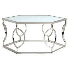 $356 18.750H 40.000W 34.500D   Alverne Hexagonal Cocktail Table - Chrome