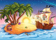 Pirate Ship & Treasure Island Cartoon Pirate Wall Mural kids Photo Wallpaper | eBay
