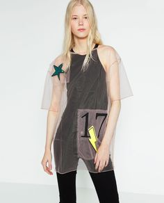 PATCH TULLE T-SHIRT from Zara