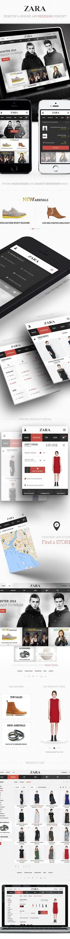 Zara / Desktop & iPhone App Redesign by Eray Demirsoy, via Behance Design Web, Web Design Gallery, Design Layouts, Creative Design, Mobile Application Design, Mobile Ui Design, Webdesign Inspiration, Web Inspiration, Ios